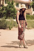 beige sun LF hat - brick red vintage skirt - black backless turi duek top - ligh