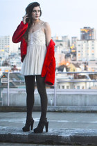 red faux fur jacket - black Forever21 shoes - off white lace LF dress