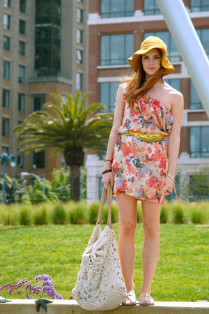 yellow sun hat vintage hat - brown wooden sandals Michael Kors shoes