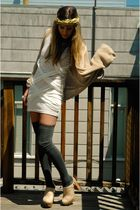 beige clogs Jeffrey Campbell shoes - white Mink Pink dress