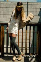beige clogs Jeffrey Campbell shoes - white Mink Pink dress