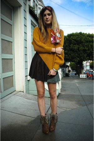 mustard chunky knit Yesstyle sweater - light brown Nasty Gal shoes