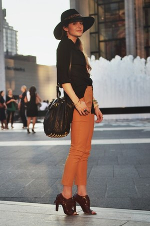 mustard Topshop pants - brick red Alexander Wang shoes - black Bebe hat