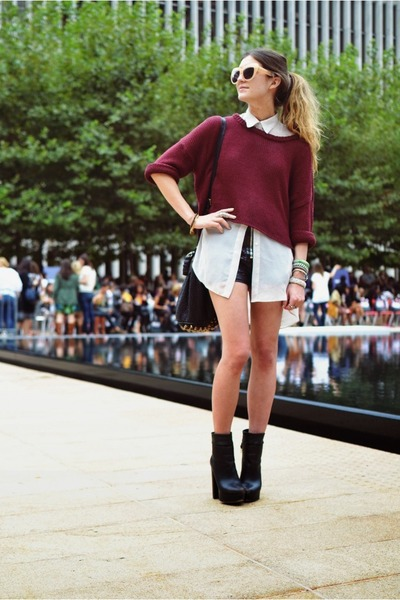 brick red LF sweater - dark brown Steve Madden shoes