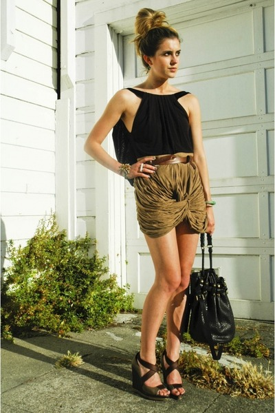 black diego Alexander Wang bag - brown wedges Elie Tahari shoes