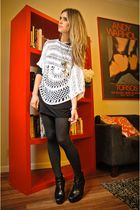 black tights - black LF dress - black sam edelman boots - white Nasty Gal top