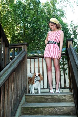 pink Celine dress - gold LF hat - black patricia field belt - white Marc Jacobs
