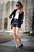 black ballet flats Chanel shoes - black leather blazer Theory jacket