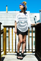 blue vintage scarf - white Nasty Gal top - black Express skirt - silver Betsey J