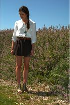 white Zara blouse - brown Zara belt - gray Seneca Rising skirt - green So Good J