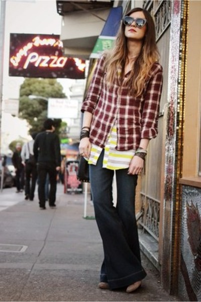 chartreuse striped asos shirt - brick red plaid shirt - navy bellbottoms jeans