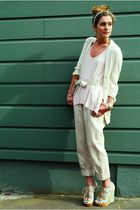 beige trousers Zara pants - green wedges Topshop shoes - pink tank LF shirt