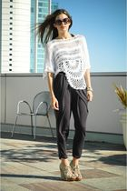 blue Eryn Brinie pants - green Topshop shoes - white Nasty Gal top - black Chane