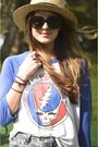Yellow-flats-tods-shoes-camel-straw-h-m-hat-navy-grateful-dead-vintage-shirt