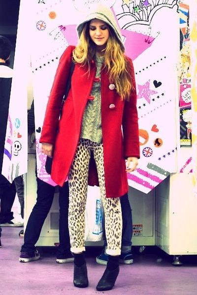 black booties Deena & Ozzy shoes - ruby red Zara coat - brown leopard Topshop je
