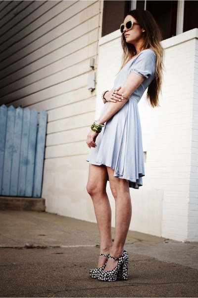 heather gray mary janes Forever21 shoes - periwinkle cut out my Pet sQuare dress