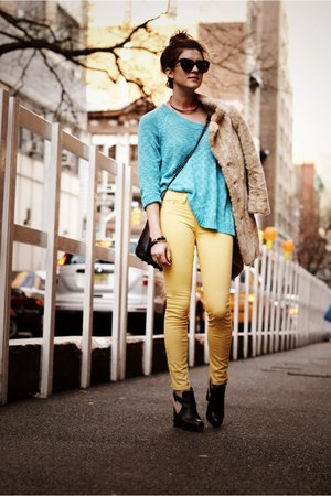 light yellow J Brand jeans - black sam edelman boots - turquoise blue LF sweater