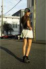 White-zara-skirt-green-urban-1972-dress-black-hat-white-necklace-black-j