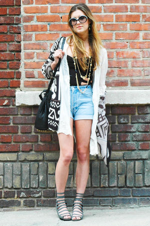 blue Levis shorts - gray deena  ozzy shoes - black asos top - beige LF jacket -