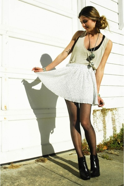 black sam edelman shoes - black American Apparel tights - white Zara skirt - bla