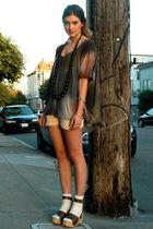 brown platforms Margiela shoes - gray asymmetric Seneca Rising shirt