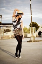 white flats Prada shoes - beige straw H&M hat - dark gray striped tank shirt - o