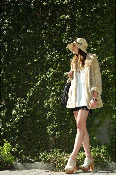 black Zara purse - beige Juicy Couture jacket - white Zara blouse - black Expres