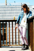 blue Forever 21 jacket - green LF t-shirt - purple LF jeans - black Steve Madden