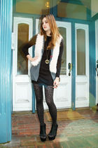 black Jeffrey Campbell shoes - brown LF tights - black LF dress - gray Forever21