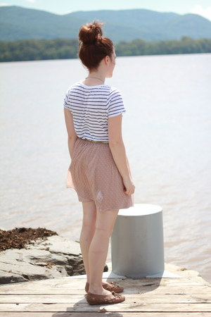 light pink polka dots American Apparel skirt - dark khaki Urban Outfitters shoes