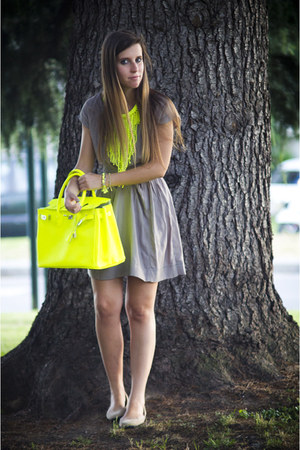 yellow genuine leather no brand bag - camel Only dress - yellow H&M necklace