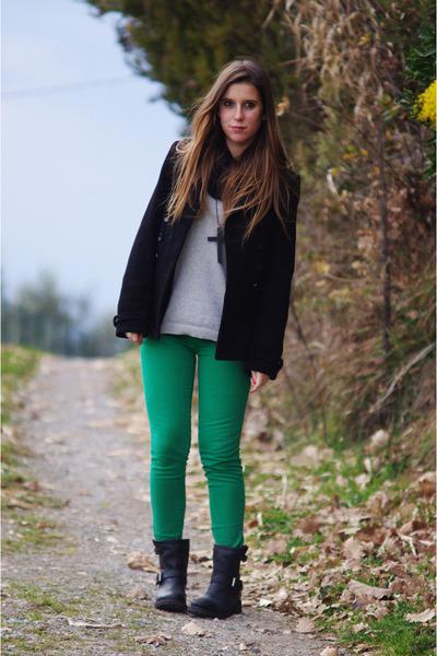Green Zara Pants, Black ASH Boots, Black Zara Coats, Silver ...