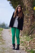 green Zara pants - black ASH boots - black Zara coat - silver Burberry sweater