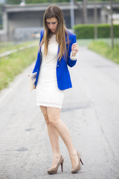 White dress blue blazer