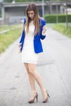 blue Zara blazer - white AX Paris dress - cream asos bag