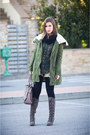 Light-brown-fornarina-boots-olive-green-zara-jacket-dark-green-zara-shirt