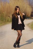 black ASH boots - black Zara coat - light pink united colors of benetton sweater