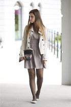 beige Only dress - off white Burberry jacket - camel Zara bag - camel H&M flats