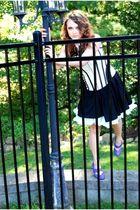 purple Alice & Olivia shoes - black isaac mizrahi dress - white tripp intimate -