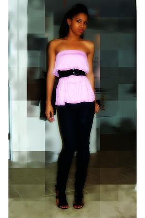 pink shirt - black jeans - black shoes - black belt