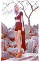 black 10th Tribe cape - burnt orange ankle boots Urban Outfitters boots