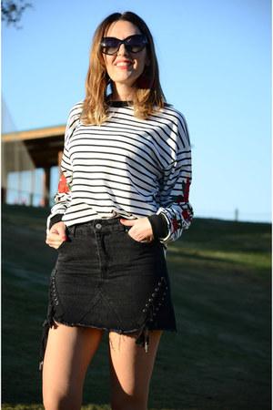 white zaful sweatshirt - dark gray zaful skirt