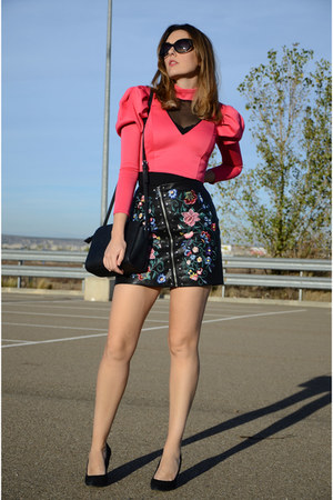 black zaful skirt - hot pink asos top
