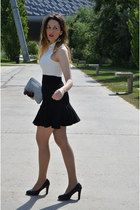 white kling dress - black Mustang shoes - white Primark bag