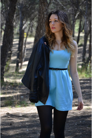 black Zara jacket - sky blue Sfera dress - black BLANCO bag
