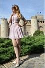 Light-pink-blue-velvet-vintage-dress