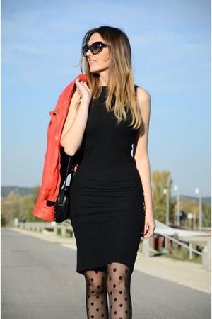black Shana dress - ruby red Stradivarius jacket - black Primark tights