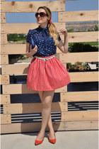 red Zara heels - blue Bershka bag - red Primark skirt - navy Shana blouse