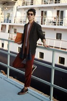 crimson shoes - gray blazer - orange pull&bear bag - crimson pants
