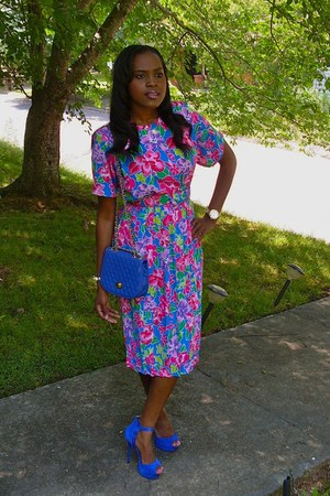 thrifted vintage dress - thrifted vintage dress - thrifted vintage dress - bag -